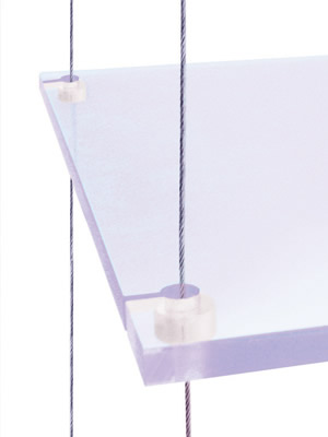 Ultima displays strata shelf support fixing - Etagere suspendue cable plafond ...